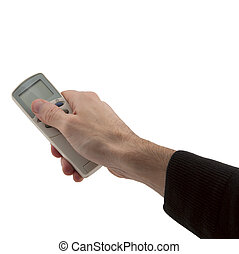 man's hand holding conditioner remote control