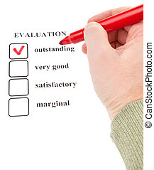 man's hand holding a red felt-tip on form of evaluation