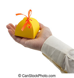 man's hand holding gift paper box