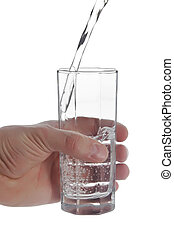 Man's hand holding glass of natural water