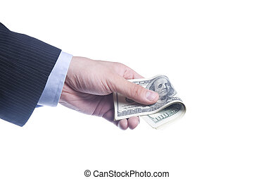 man's hand holds a pack of dollars