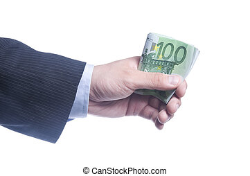 man's hand holds a pack of euros