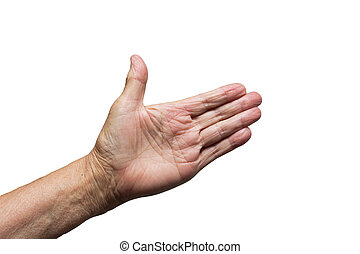 man's hand on a white background
