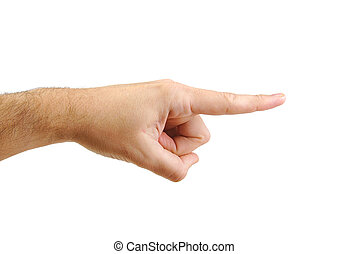 Man's hand pointing to the right