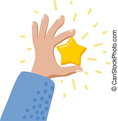 Man's hand with a golden star. Concepts of success and prosperity. Cartoon style. Isolated objects on white background. Vector illustration