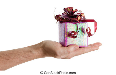 man's hand with a small red gift box with ribbon isolated on white background