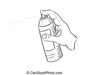 Man's hand with aerosol can. Sketch. Vector image.