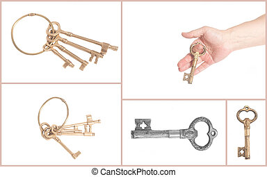 man's hand with antique golden key