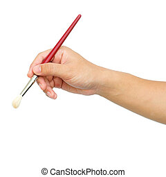 man's hand with the paintbrush isolated on white background with clipping path
