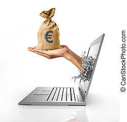 Man's hands, splashing out from a computer laptop screen,...