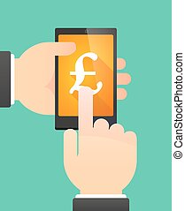 Man's hands using a phone showing a pound sign