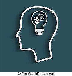 man's head with a light bulb