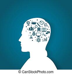 man's hoofd, met, opleiding, iconen