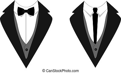Man's Jackets Tuxedo, Weddind Suit with Bow Tie and Tie VECTOR.