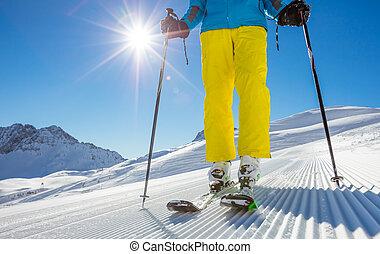 Man's legs in ski boots, standing on alpine skis