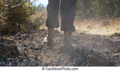 Man's legs walking in the place of an extinct forest fire