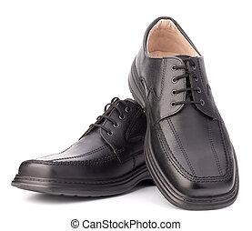 man's, lustré, noir, chaussures, lacets