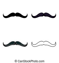 Man's mustache icon in cartoon style isolated on white background. Beard symbol stock vector illustration.