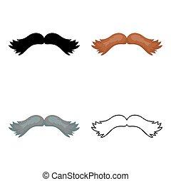 Man's mustache icon in cartoon style isolated on white background. Beard symbol stock vector illustration