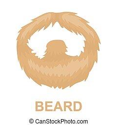 Man's mustache icon in cartoon style isolated on white background. Beard symbol stock vector illustration.