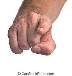 Man's pointing finger against white background