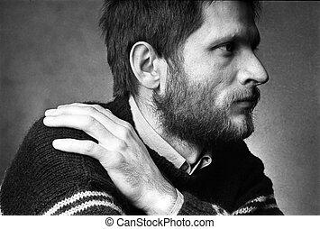 man's portrait in profile