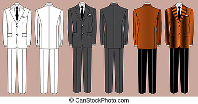 Man's suits for business isolated for design - Vector...