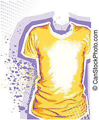 Man's t-shirt. Vector grunge background for design with fashion elements