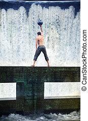 man's weight ball training
