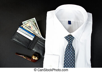 man's white shirt with wallet