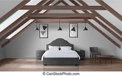 mansard, moderno, ático, dormitorio, interior, hogar