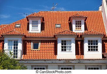 ... Mansard Roof In Lisbon. Portugal.   The View Of Mansard.
