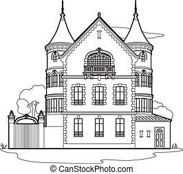 mansión, dibujo