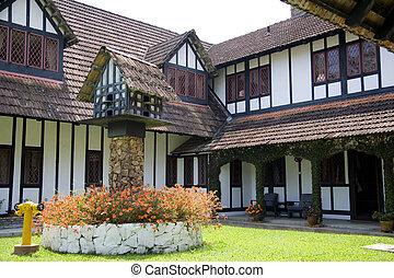 mansión, estilo colonial, tudor