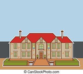 mansión, jardíndelantero