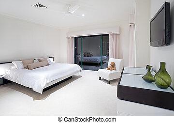 mansión, maestro, lujo, dormitorio