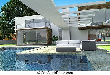 mansión, moderno, lujo, exterior