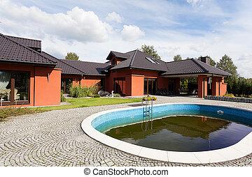 mansión, piscina, natación