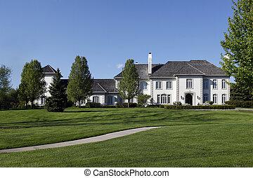 mansión, suburbios, blanco