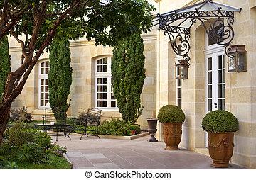 mansión, terraza, francés