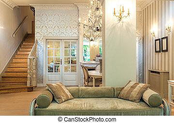 mansión, vendimia, antigüedad, -, sofá