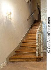 mansión, vendimia, -, escaleras