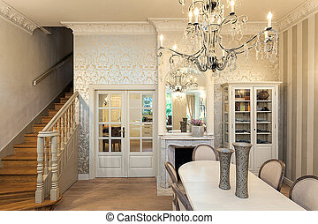 mansión, vendimia, interior, -, lujoso