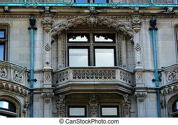 mansión, windows, elaborado, detalle