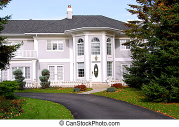 Mansion - Beautiful mansion in grey and white color