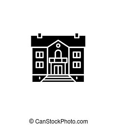 Mansion black icon concept. Mansion flat  vector symbol, sign, illustration.