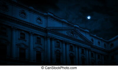 Mansion Building In The Moonlight - Classical old building...