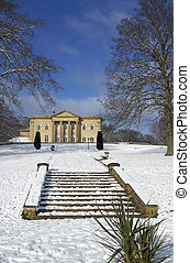Mansion house in snow