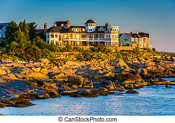 Mansion on a cliff at Cape Neddick, York, Maine.