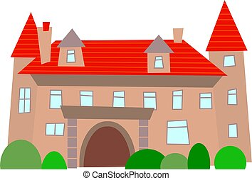 mansion - a generic rickety mansion isolated on white